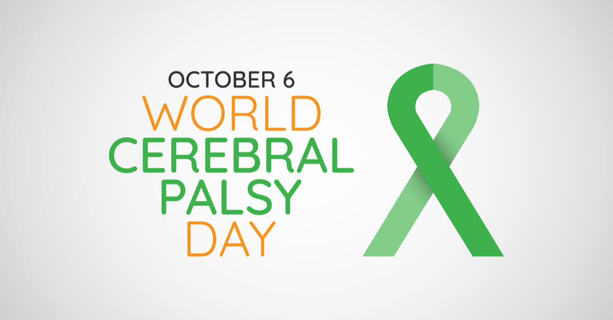 text that says World Cerebral Palsy Day and a green ribbon